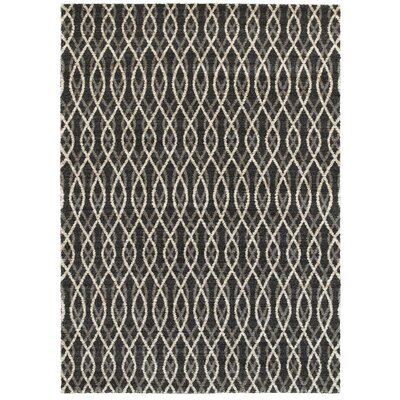Loftis Gray/Black Area Rug Rug Size: 53 x 74