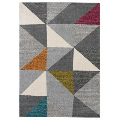 Halladay Gray/Yellow Area Rug Rug Size: 53 x 74