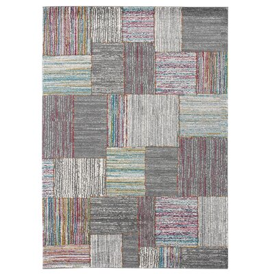 Olivia Gray/Blue Area Rug Rug Size: 53 x 74