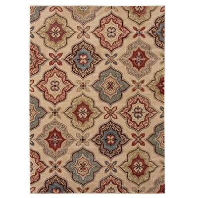 Northfield Beige/Blue Area Rug Rug Size: 53 x 74