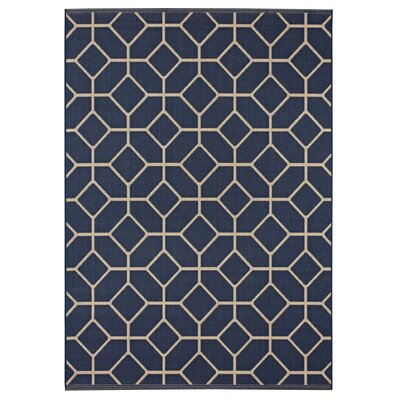 Eason Navy/Beige Indoor/Outdoor Area Rug Rug Size: 53 x 74