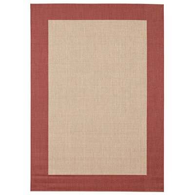 Sofia Beige/Brick Indoor/Outdoor Area Rug Rug Size: 53 x 74
