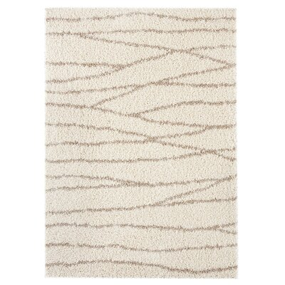 Concord White/Beige Area Rug Rug Size: 5'3