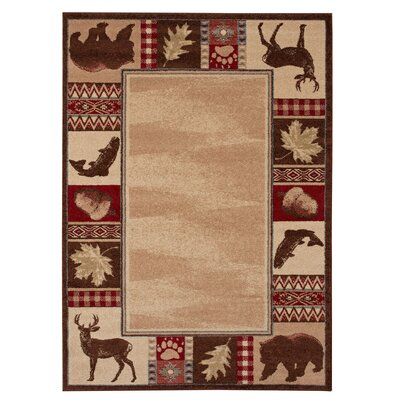 Spengler Burgundy/Brown Area Rug Rug Size: 53 x 74