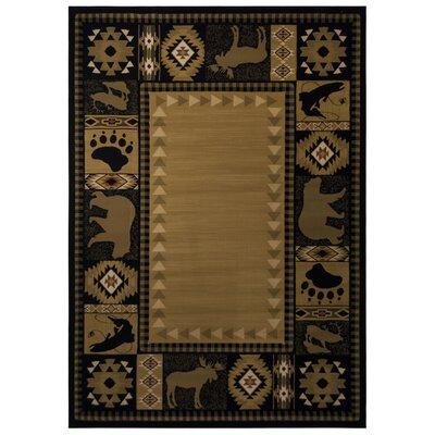 Black/Beige Area Rug Rug Size: 93 x 126
