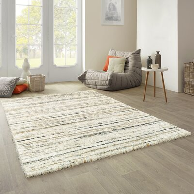 City Stripe Shag Beige Area Rug