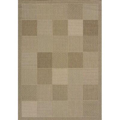 Solarium Brown Patio Block Indoor/Outdoor Rug Rug Size: 53 x 76