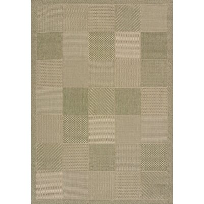 Solarium Green Patio Block Indoor/Outdoor Rug Rug Size: 53 x 76