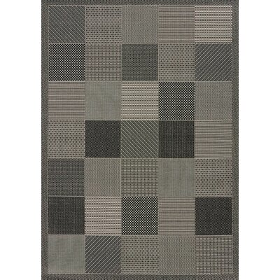 Solarium Gray Patio Block Indoor/Outdoor Rug Rug Size: 53 x 76