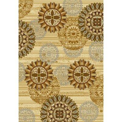 Affinity Sundial Ivory/Gold Area Rug Rug Size: 5'3