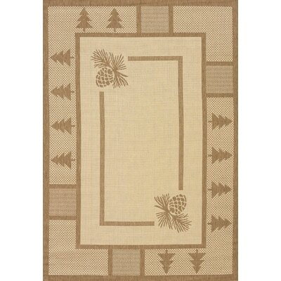 Solarium Pine Brown Court Indoor/Outdoor Rug Rug Size: 53 x 76