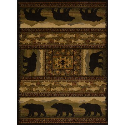 Sayre Black Bears Lodge Ivory Area Rug Rug Size: 53 x 72