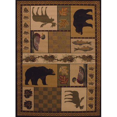 Sayre Pine Montage Lodge Brown / Ivory Area Rug Rug Size: Runner 111 x 72