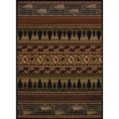 Sayre River Ridge Lodge Brown Area Rug Rug Size: 53 x 72