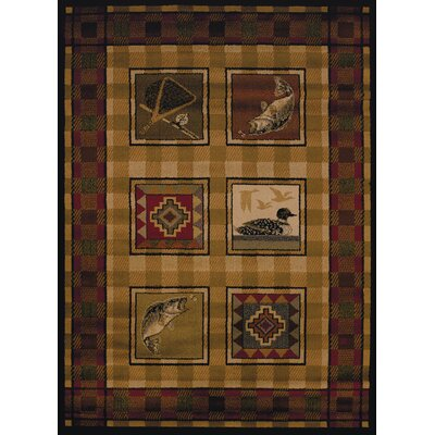 Sayre Lodge Stamp Ivory Area Rug Rug Size: 53 x 72