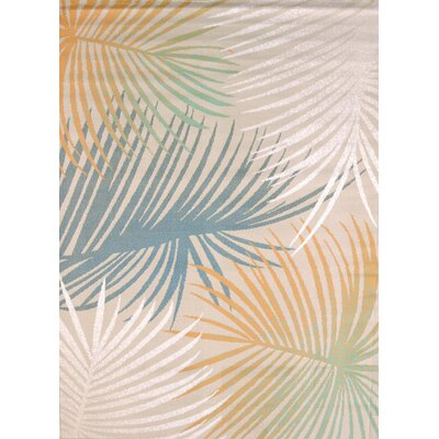 Keyla Palm Leaves Blue Area Rug Rug Size: Rectangle 110 x 3