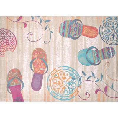 Regional Concepts Flip Flop Shore Natural Area Rug Rug Size: Rectangle 53 x 72