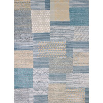 Modern Texture Applique Blue Area Rug Rug Size: Rectangle 53 x 72