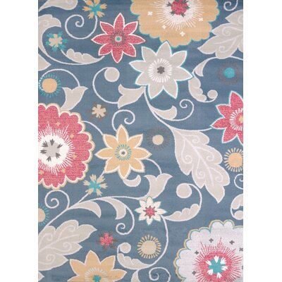 Modern Texture Parasol Blue Area Rug Rug Size: Rectangle 53 x 72