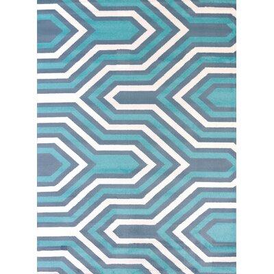 Modern Texture Cupola Blue Area Rug Rug Size: 53 x 72