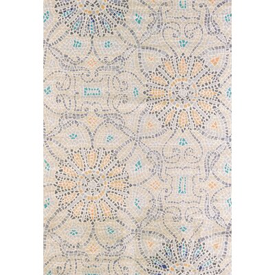Marquee Beige/Blue Area Rug Rug Size: 53 x 72