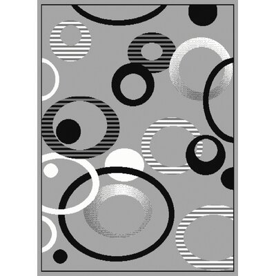 Dallas Hip Hop Silver/Black Area Rug Rug Size: 53 x 72