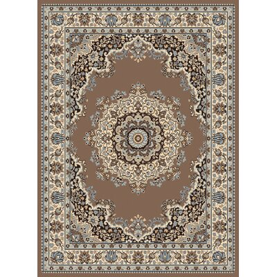 Dallas Floral Kirman Ash Beige Area Rug Rug Size: Rectangle 53 x 72