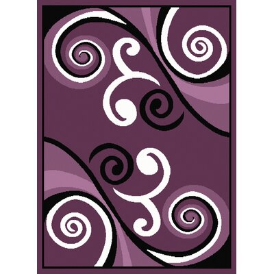 Dallas Billow Plum/White Area Rug Rug Size: 53 x 72