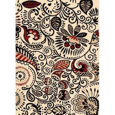 Brent Ivory/Black Area Rug Rug Size: 111 x 33