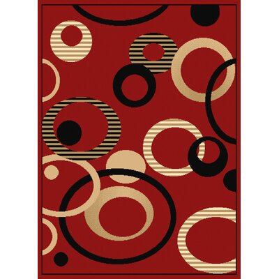 Dallas Hip Hop Red/Black Area Rug Rug Size: 5'3