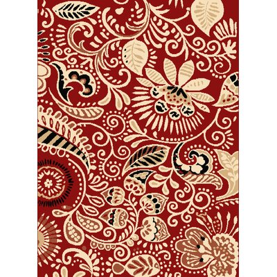 Dallas Bandanna Red Area Rug Rug Size: 53 x 72