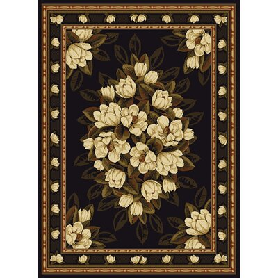 China Garden Sugar Magnolia Black Area Rug Rug Size: 53 x 72