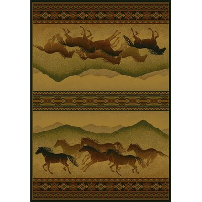 Genesis Yellow Chestnut Mare Lodge Area Rug Rug Size: 710 x 106