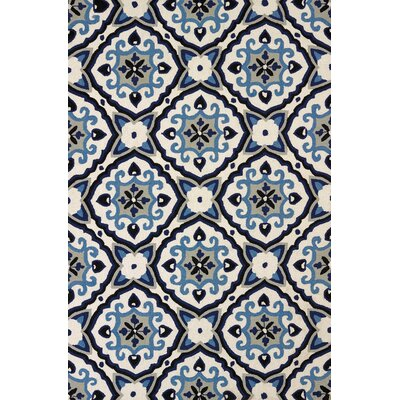 Atrium Handmade Sky Blue and Black Indoor/Outdoor Area Rug Rug Size: 110 x 3