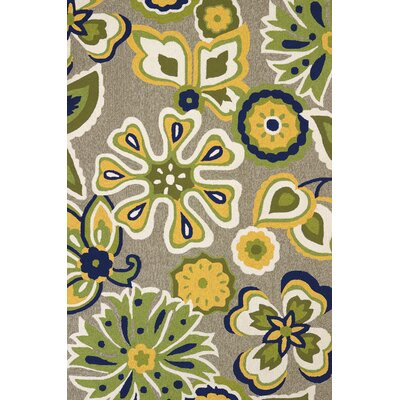 Atrium Handmade Yellow and Blue Indoor/Outdoor Area Rug Rug Size: 5 x 76