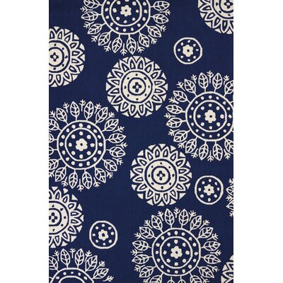 Atrium Hand-Woven Navy Indoor/Outdoor Area Rug Rug Size: 5 x 76