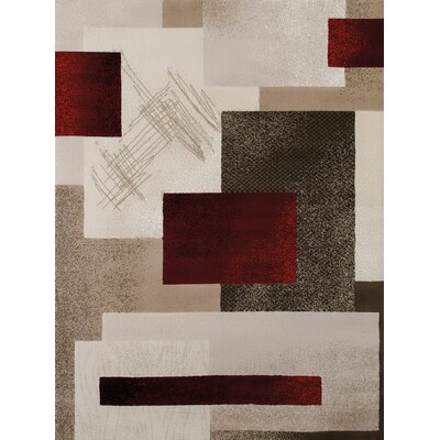 China Garden Contempo Beige/Brown Area Rug Rug Size: 53 x 72
