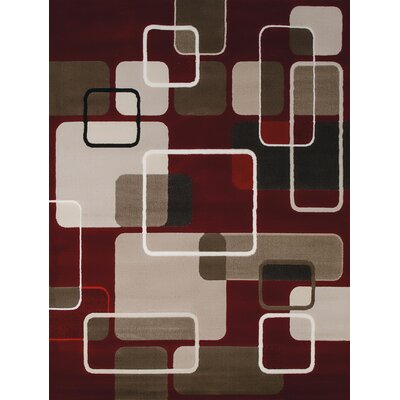 China Garden Jazz Red/Beige/Brown Area Rug Rug Size: 110 x 3