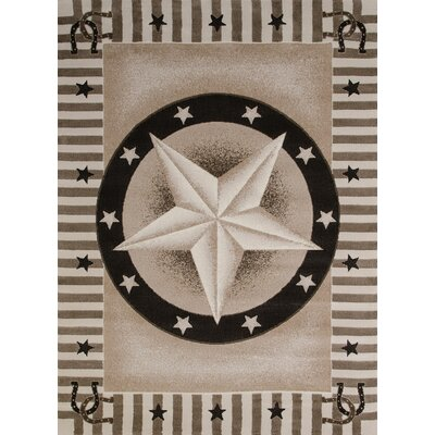 China Garden Texas Road Beige/Brown Area Rug Rug Size: 110 x 3