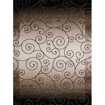 China Garden Verdi Beige/Brown/Black Area Rug Rug Size: 53 x 72