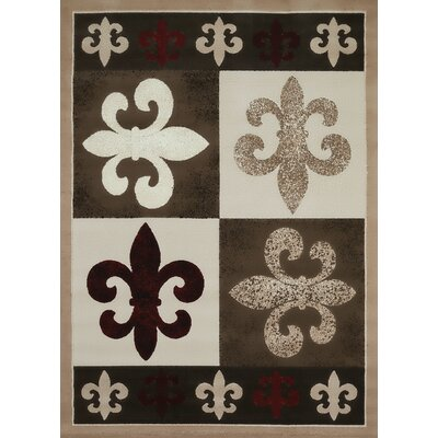 China Garden French Quarter Beige/Brown Area Rug Rug Size: 53 x 72