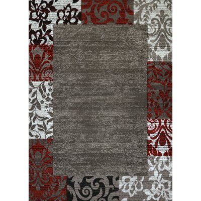 Studio Gray/White/Red Area Rug Rug Size: 53 x 72