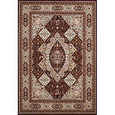Antiquities Kirman Jewel Brown/Beige Area Rug Rug Size: 53 x 72