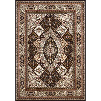 Antiquities Kirman Jewel Black/Beige Area Rug Rug Size: 53 x 72