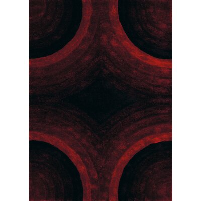 Finesse Hand-Woven Red Area Rug Rug Size: 53 x 72