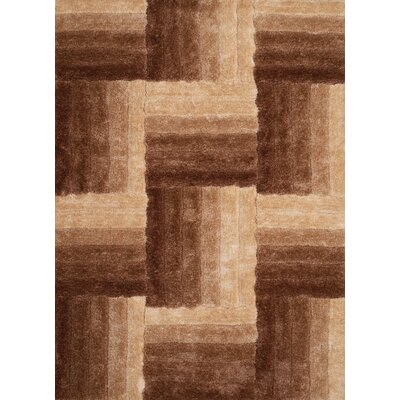 Finesse Hand-Woven Beige Area Rug Rug Size: 53 x 72