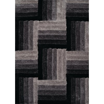 Finesse Hand-Woven Black Area Rug Rug Size: 53 x 72