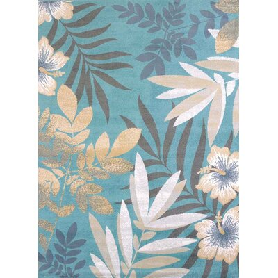 Modern Texture Blue/Beige Area Rug Rug Size: Rectangle 53 x 72