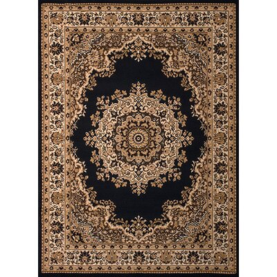 Dallas Floral Kirman Black Area Rug Rug Size: 111 x 33