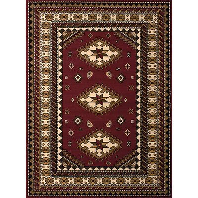 Dallas Tres Burgundy Area Rug Rug Size: 5'3